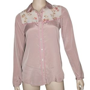 American Eagle Western Inspired Shirt Contrast Piping Pink